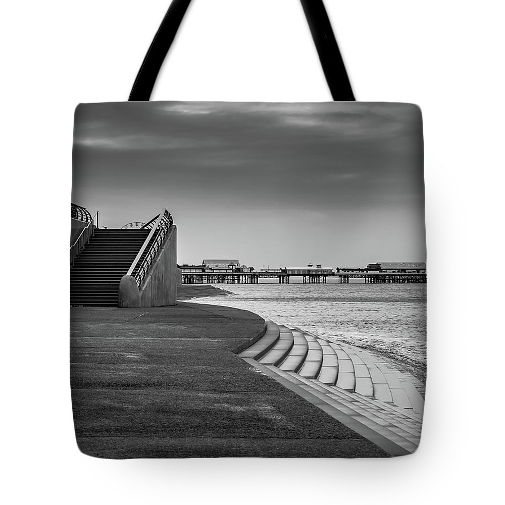 Black And White Image Tote Bag featuring the photograph Central Pier Blackpool by Mike Walker
