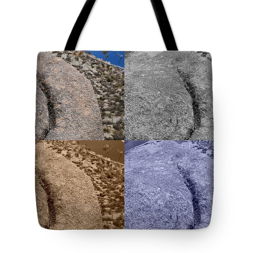 Sepia Tote Bag featuring the photograph 4 Crack Rocks New Mexico by Rob Hans