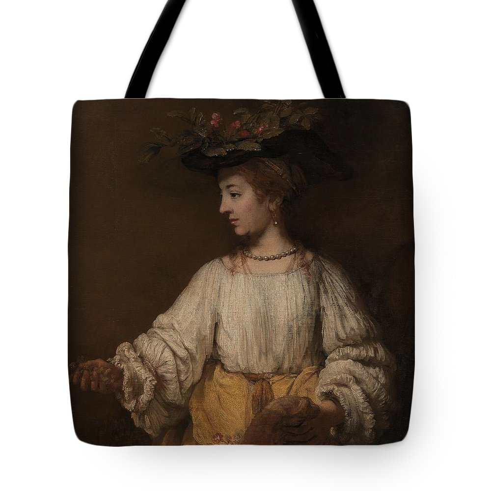 Flora Tote Bag featuring the painting Flora by Rembrandt