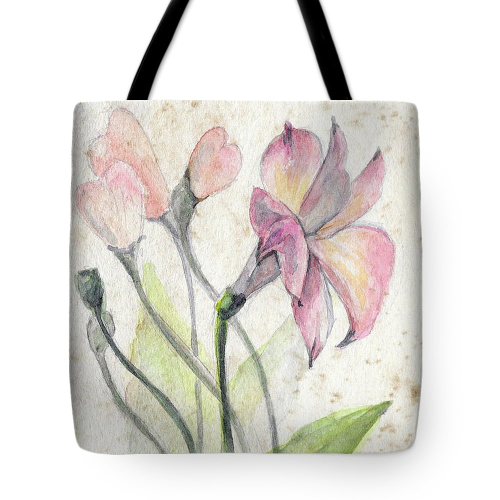 Flower Tote Bag featuring the painting Flowers by Yana Sadykova
