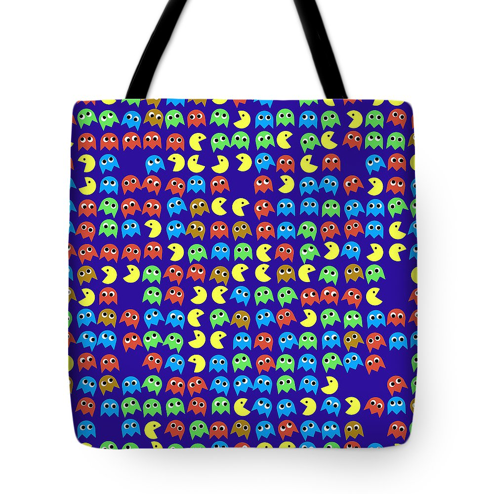 Monsters Tote Bag featuring the digital art Game Monsters Seamless Generated Pattern by Miroslav Nemecek