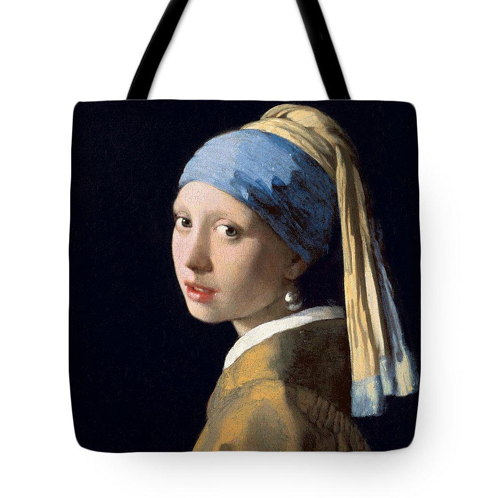 Jan Vermeer Tote Bag featuring the painting Girl With A Pearl Earring by Jan Vermeer
