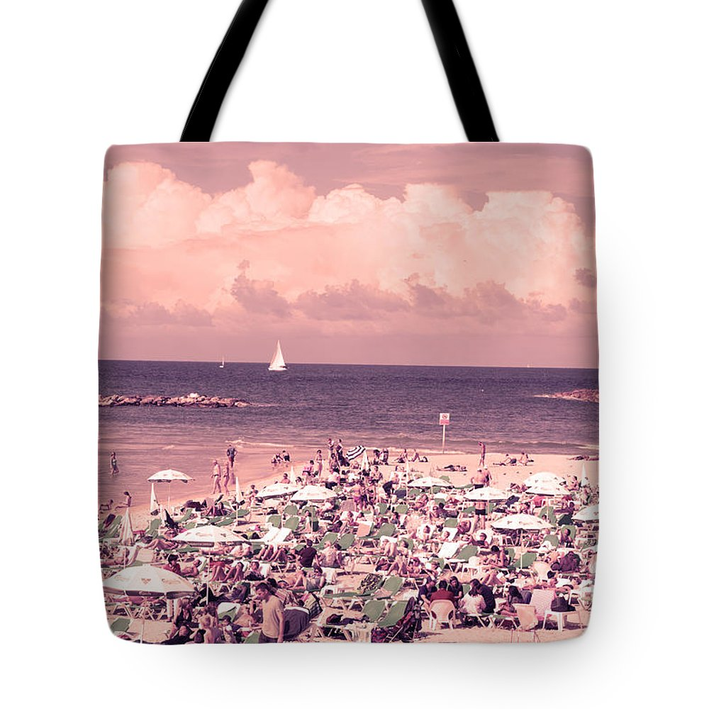 Tel Aviv Tote Bag featuring the photograph Gordon Beach, Tel Aviv, Israel by Humorous Quotes