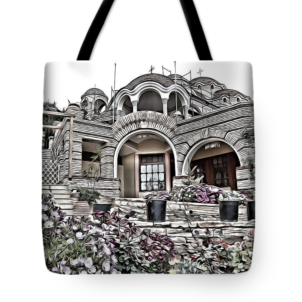 House Tote Bag featuring the digital art House by Lora Battle