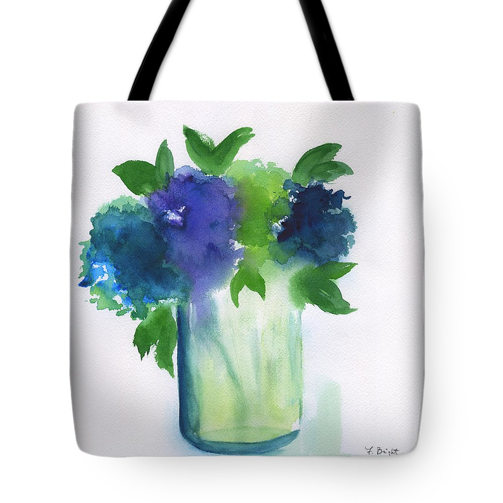 4 Hydrangeas Tote Bag featuring the painting 4 Hydrangeas by Frank Bright