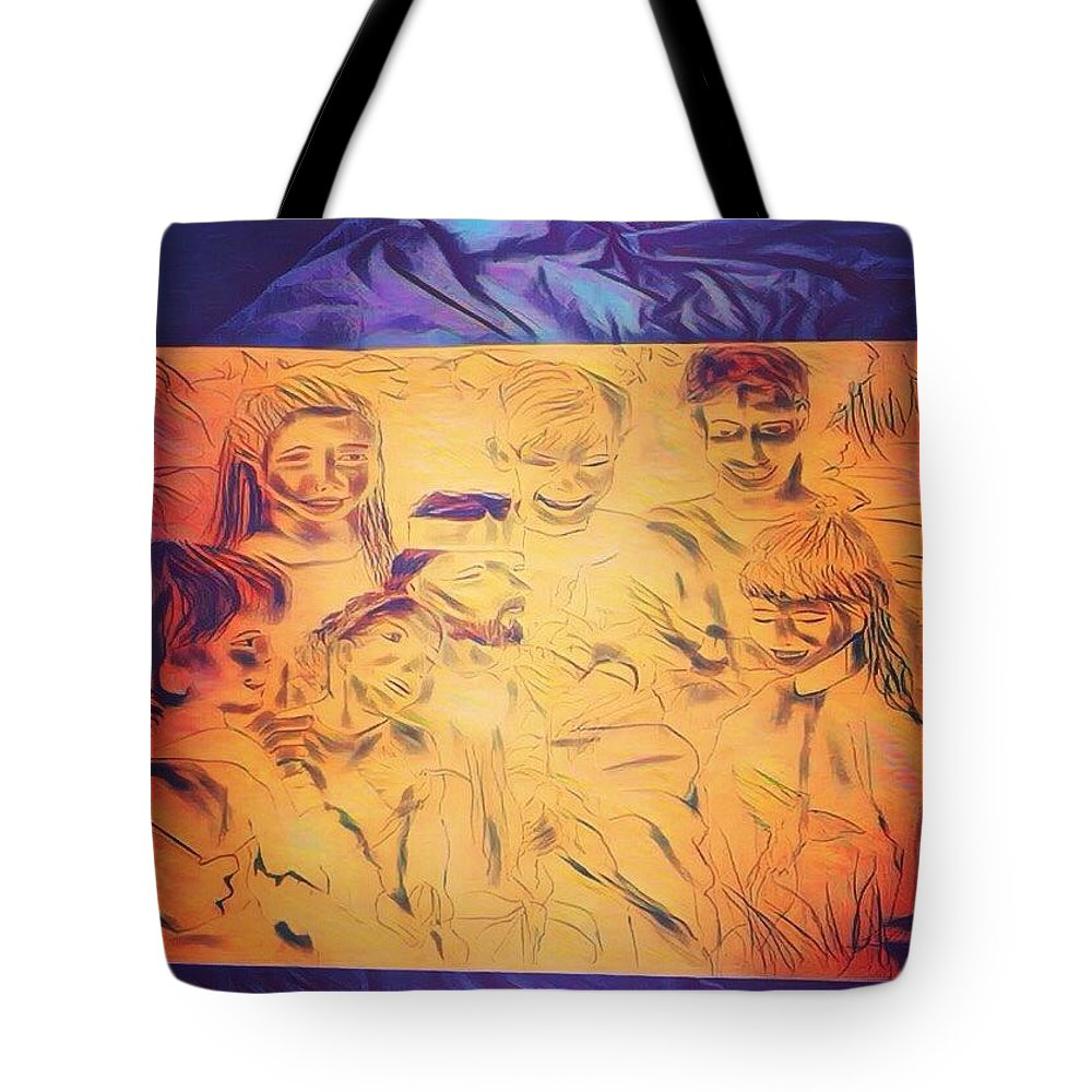 Heaven Tote Bag featuring the drawing In Heaven With Jesus by Love Art Wonders By God