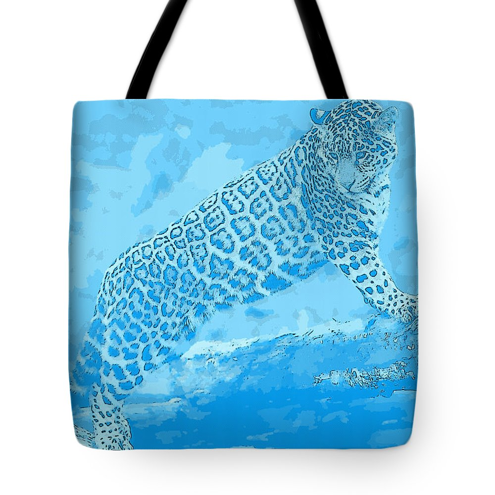 Jaguar Tote Bag featuring the digital art Jaguar by Lora Battle