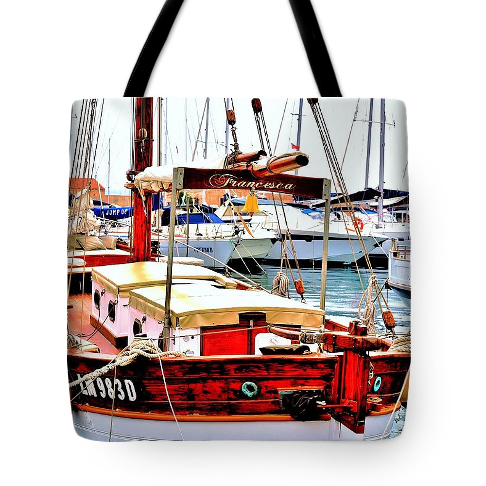 Boats Tote Bag featuring the photograph La Maddalena -sardinia by Gianni Bussu