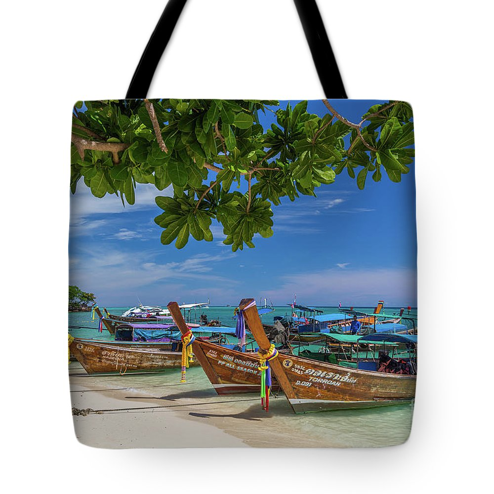 Copy Space Tote Bag featuring the photograph Long-tail Boats, The Andaman Sea And Hills In Ko Phi Phi Don, Th by Travel and Destinations - By Mike Clegg
