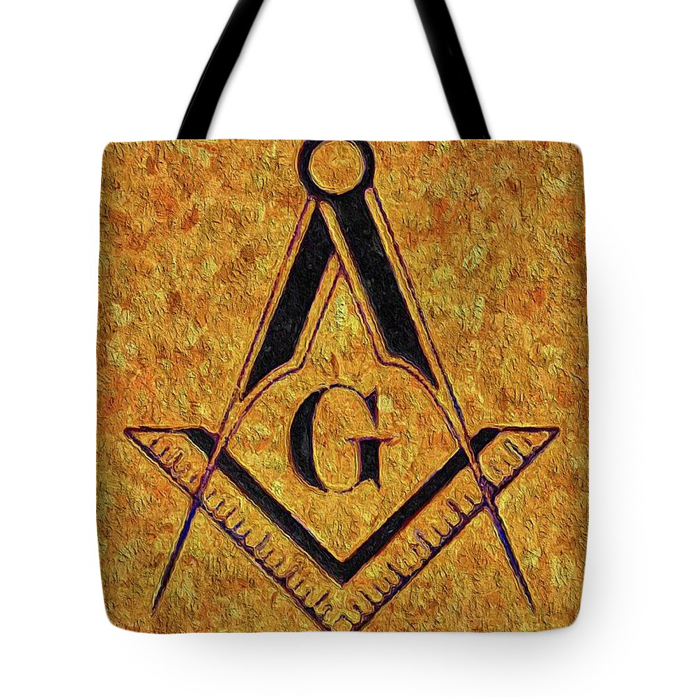 Symbol Tote Bag featuring the painting Masonic Symbolism by Esoterica Art Agency