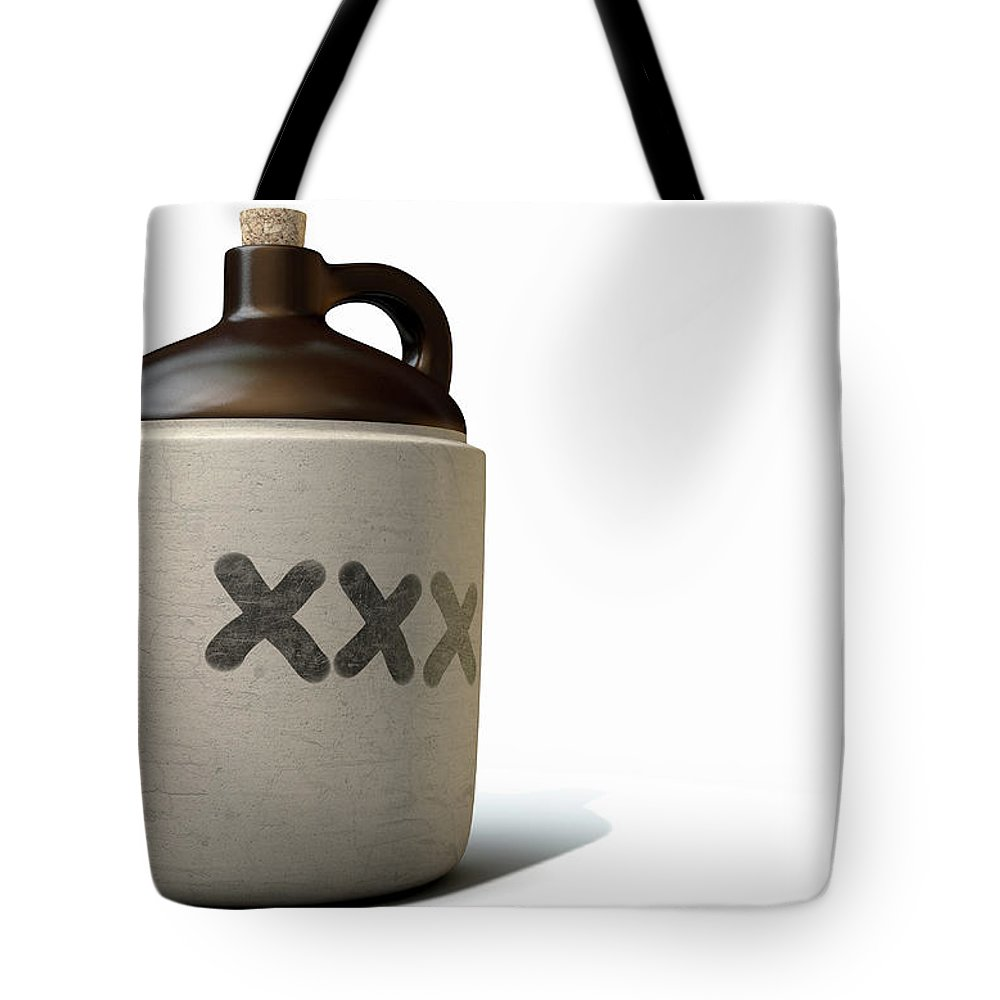 Jug Tote Bag featuring the digital art Moonshine Jug by Allan Swart