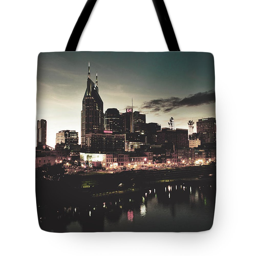 Nashville Tote Bag featuring the photograph Nashville At Dusk by Library Of Congress