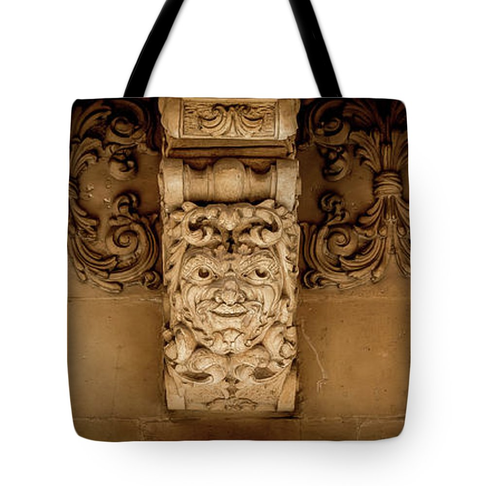Aged Tote Bag featuring the photograph Noto, Sicily, Italy - Detail Of Baroque Balcony, 1750 by Paolo Modena