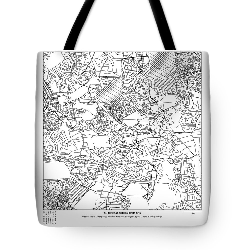 Pi Tote Bag featuring the digital art On The Road With 36 Digits Of Pi 4 by Martin Krzywinski