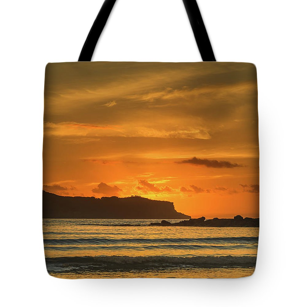 Umina Beach Tote Bag featuring the photograph Orange Sunrise Seascape And Silhouettes by Merrillie Redden
