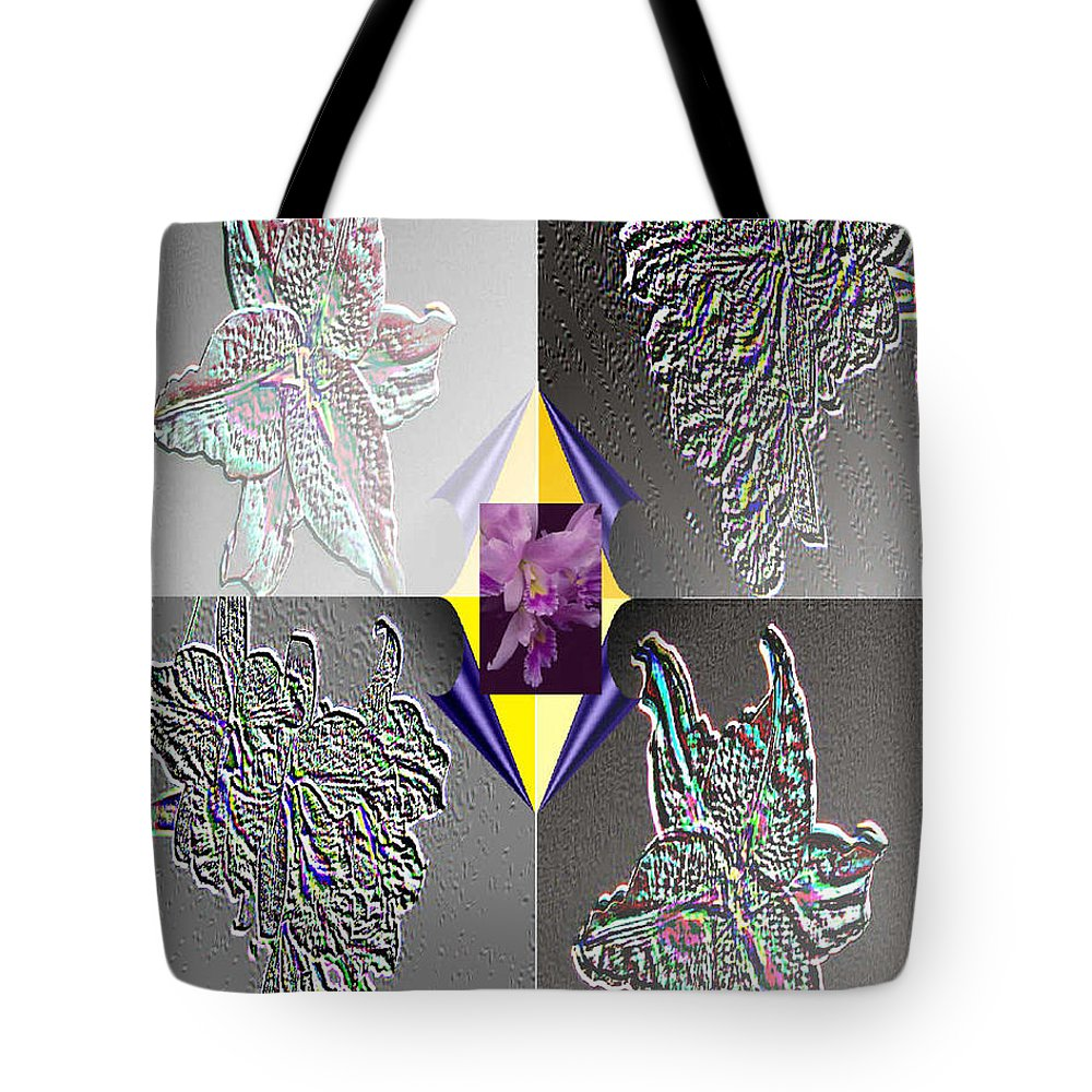 Florals Tote Bag featuring the digital art 4 Points Of Interest by Brenda L Spencer