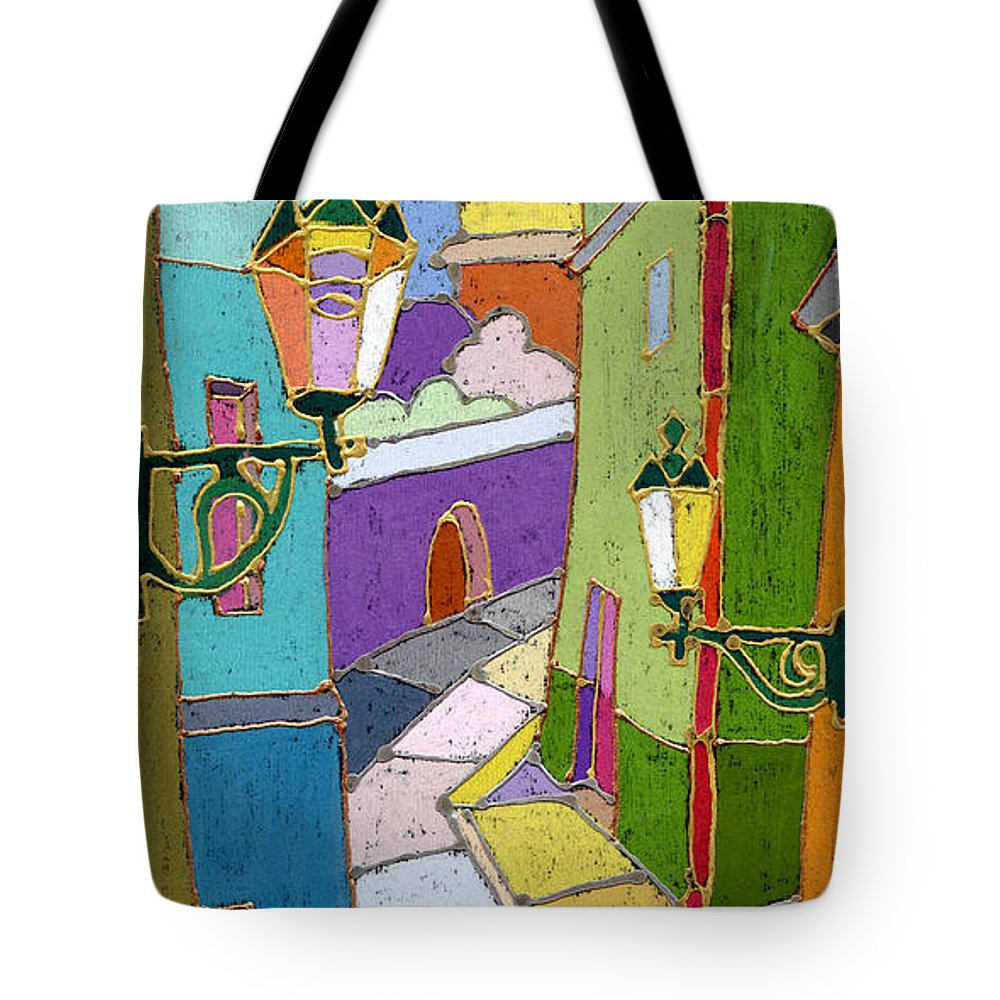 Pastel Tote Bag featuring the painting Prague Old Street by Yuriy Shevchuk
