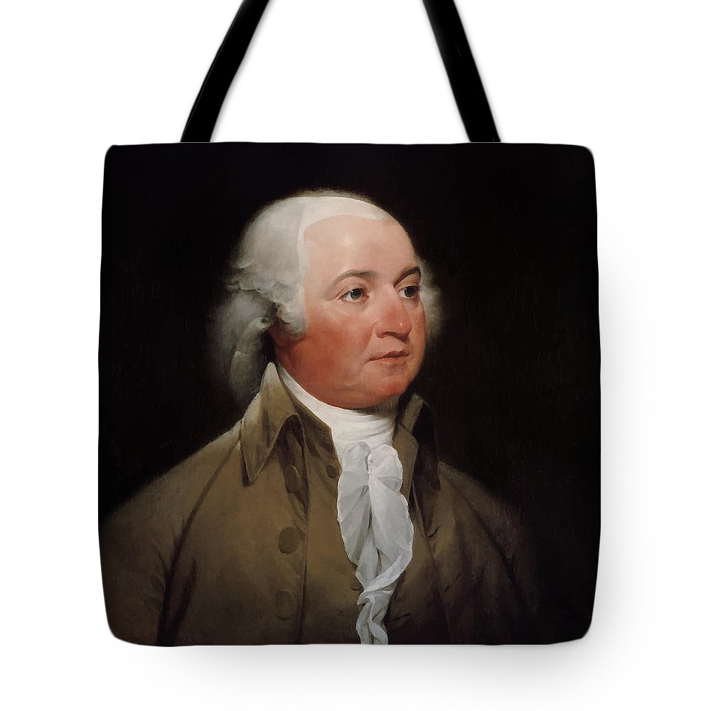John Adams Tote Bag featuring the painting President John Adams Painting by War Is Hell Store