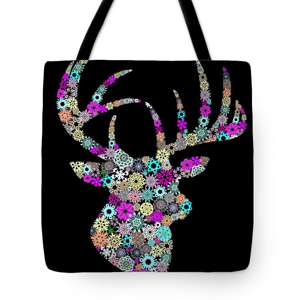 Animal Tote Bag featuring the painting Reindeer Design By Snowflakes by Setsiri Silapasuwanchai