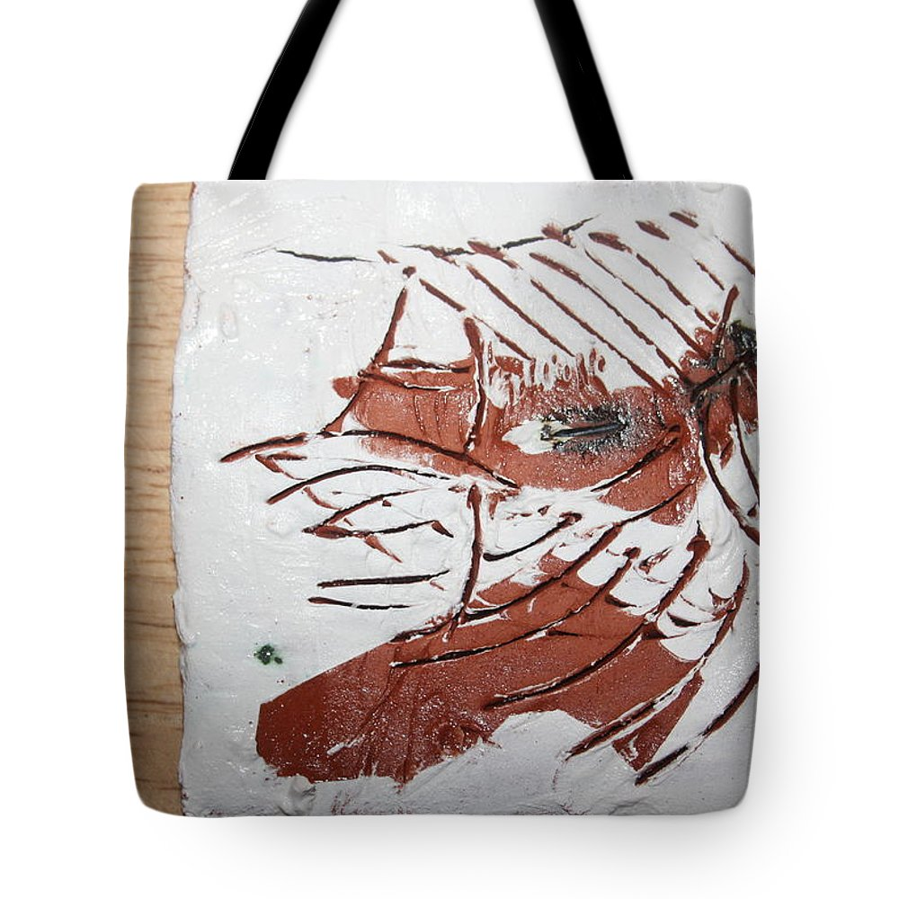 Jesus Tote Bag featuring the ceramic art Rest - Tile by Gloria Ssali