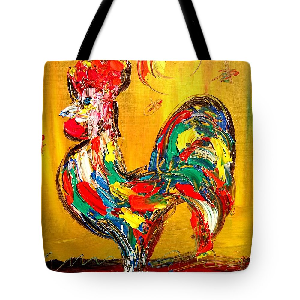 Impressionist Framed Prints Tote Bag featuring the mixed media Rooster by Mark Kazav
