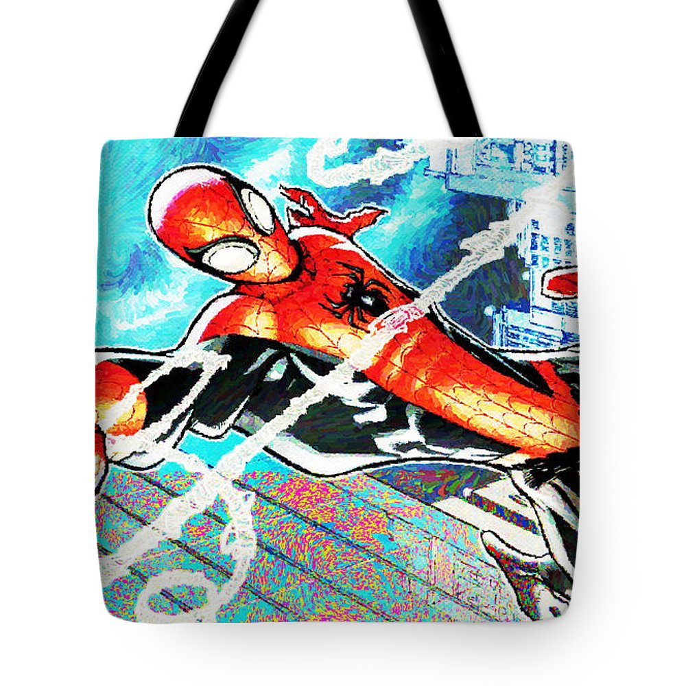 Spider-man Tote Bag featuring the digital art Spider-man by Lora Battle