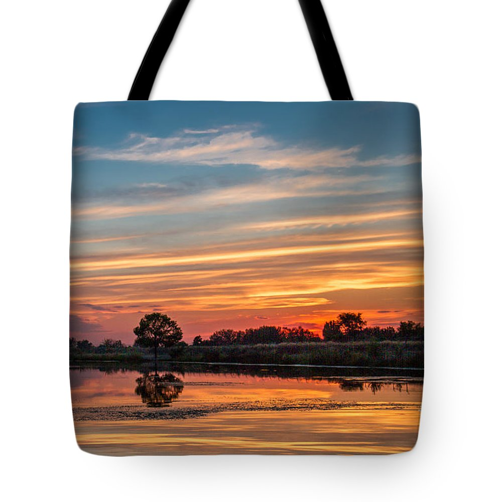 Reflections Tote Bag featuring the photograph Sunset Reflections by Robert Bales