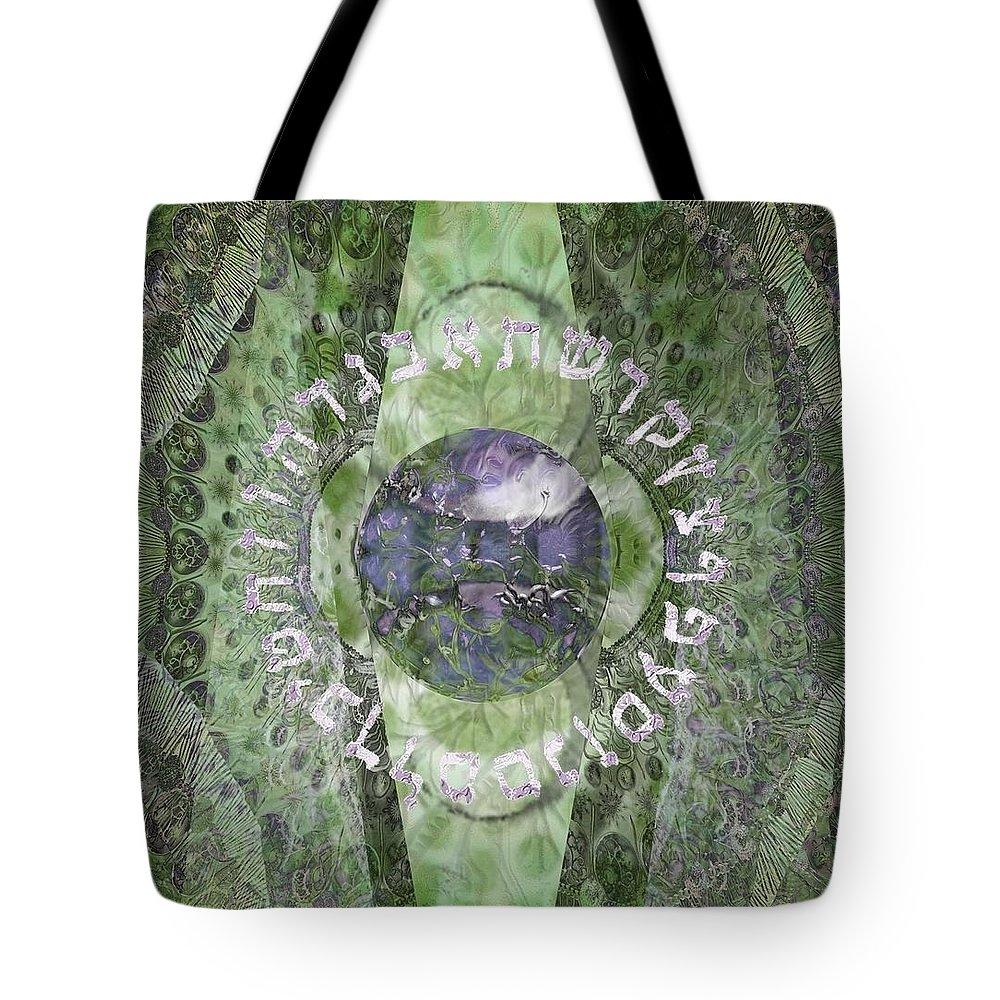Origin Tote Bag featuring the digital art The Origin by Sandrine Kespi