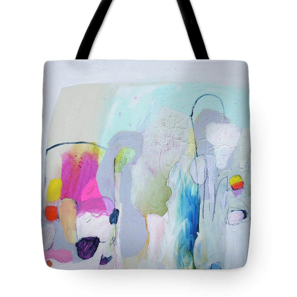 Abstract Tote Bag featuring the painting 4 Years Ago by Claire Desjardins