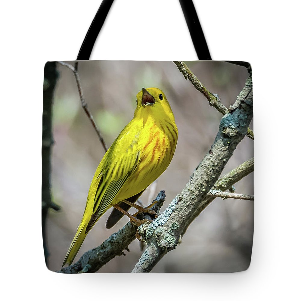Nature Tote Bag featuring the photograph Yellow Warbler by Michael Cunningham