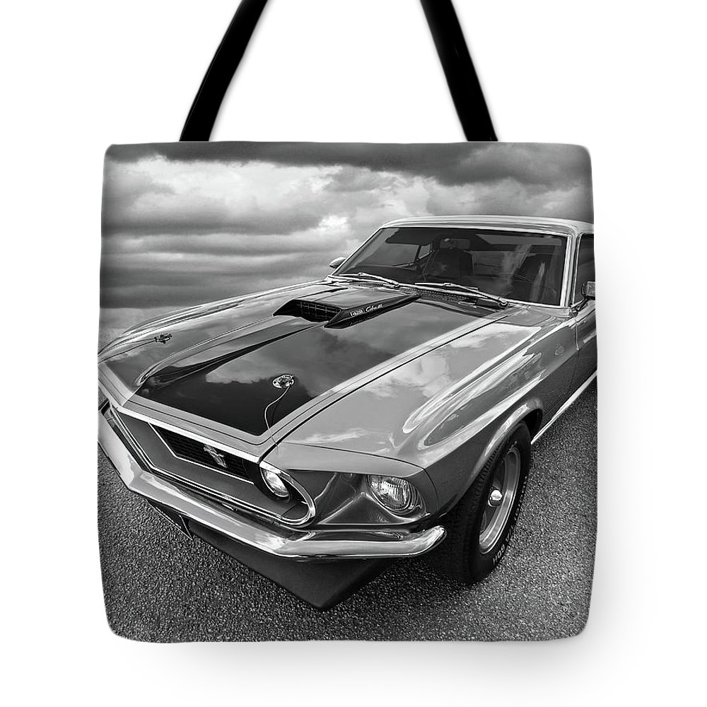 428 Cobra Jet Mach1 Ford Mustang 1969 In Black And White Tote Bag Shelby Mach 1 Featuring The Photograph