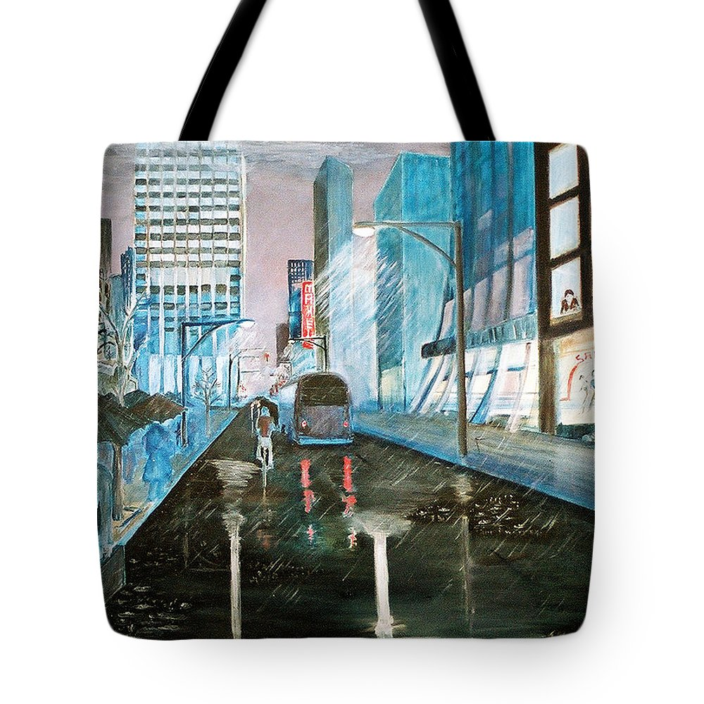 Street Scape Tote Bag featuring the painting 42nd Street Blue by Steve Karol