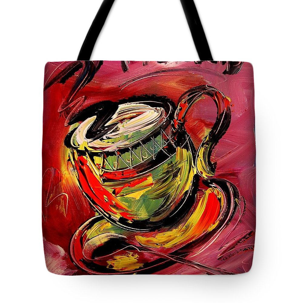 Impressionist Framed Prints Tote Bag featuring the mixed media Coffee by Mark Kazav