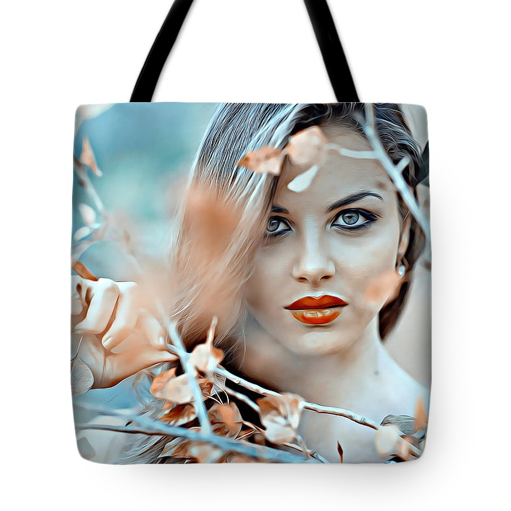Model Tote Bag featuring the digital art Model by Lora Battle