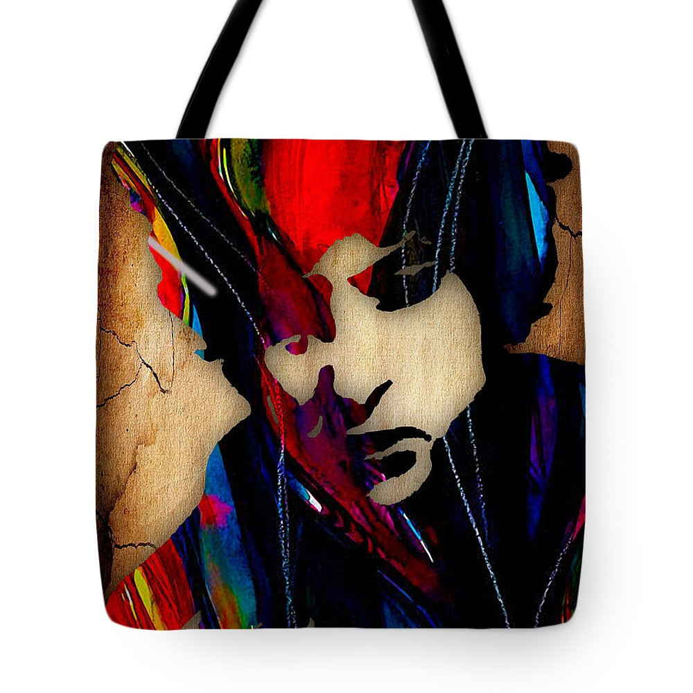 Bob Dylan Tote Bag featuring the mixed media Bob Dylan Collection by Marvin Blaine
