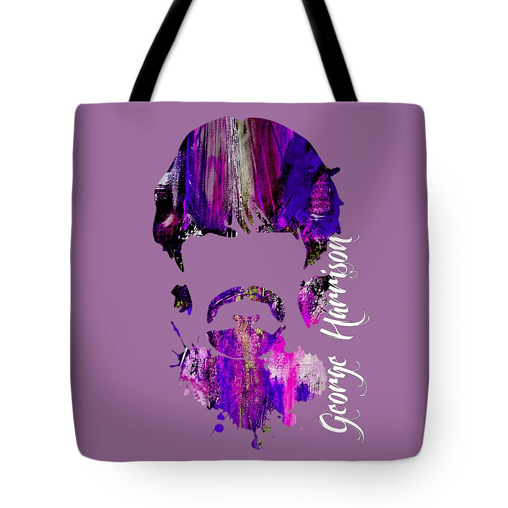 George Harrison Art Tote Bag featuring the mixed media George Harrison Collection by Marvin Blaine