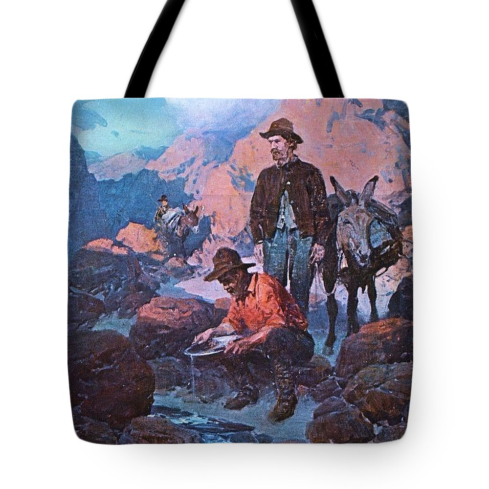 Pd. Reproduction Tote Bag featuring the painting 49ers Panning Gold by Pg Reproductions