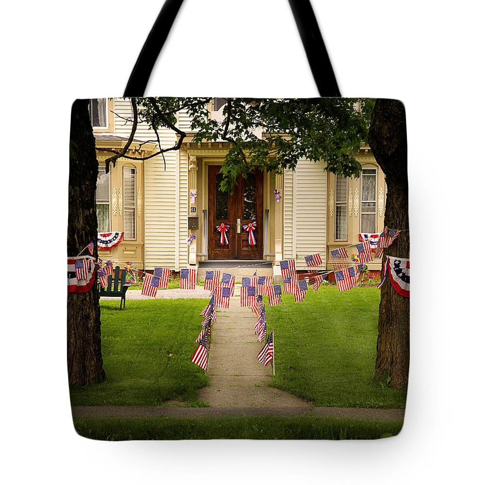 Flags Tote Bag featuring the photograph 4th Of July Home by Craig J Satterlee