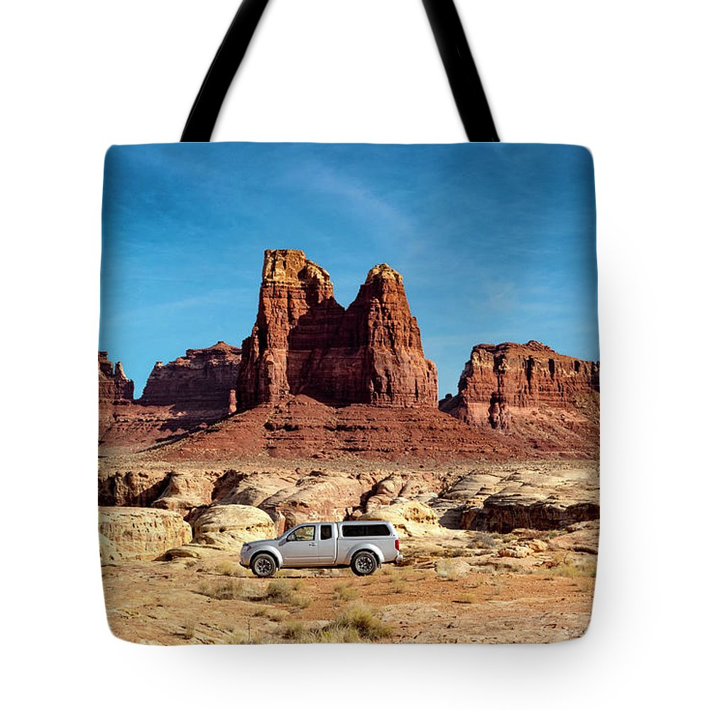 Utah Backroads Tote Bag featuring the photograph 4x4 At Lake Powell by Gary Warnimont