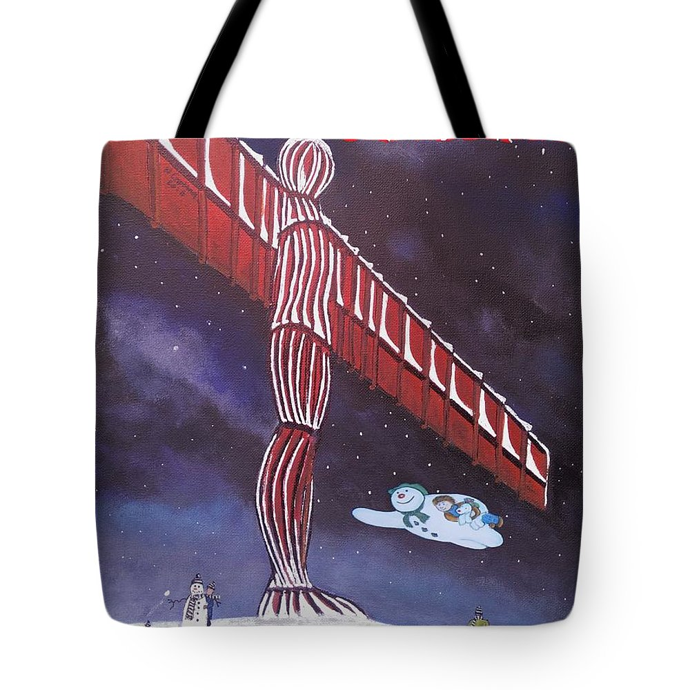 Angel Christmas Tote Bag featuring the painting Angel Of The North by Neal Crossan