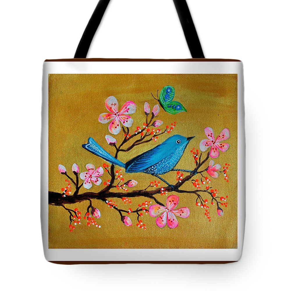 Birds Tote Bag featuring the painting Birds by Archana Kalra