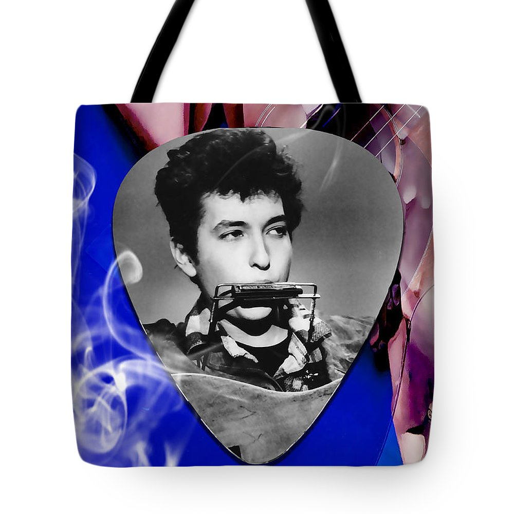 Bob Dylan Art Tote Bag featuring the mixed media Bob Dylan Art by Marvin Blaine