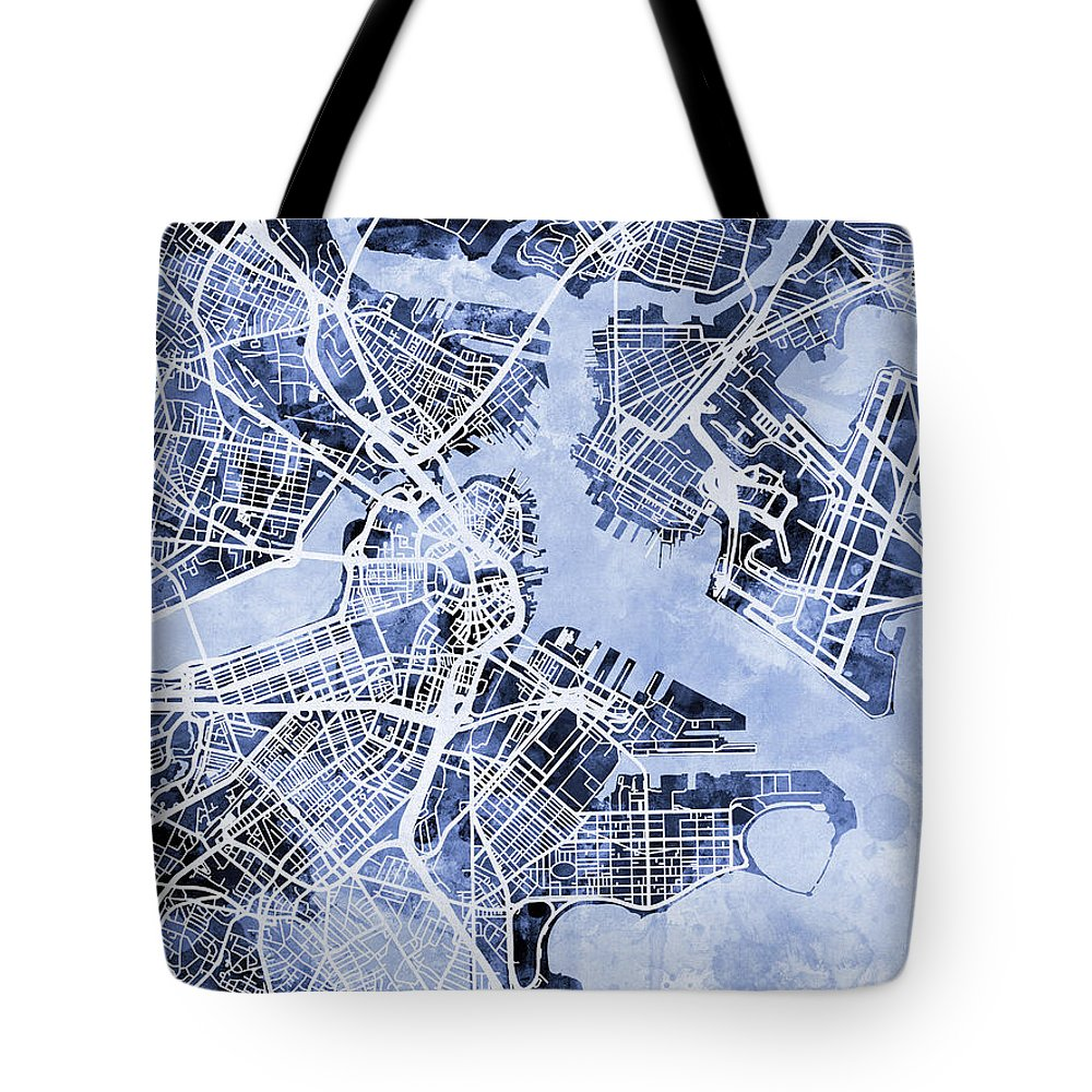 Street Map Tote Bag featuring the digital art Boston Massachusetts Street Map by Michael Tompsett