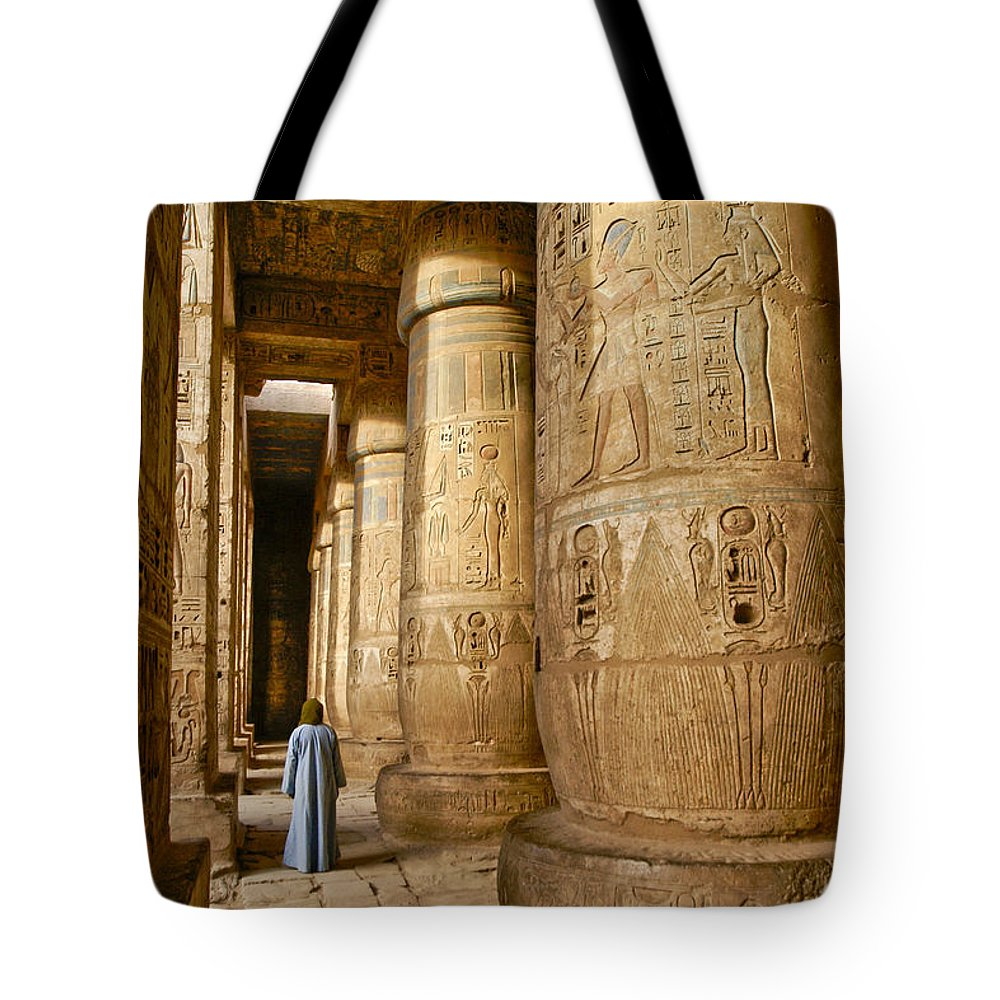 Egypt Tote Bag featuring the photograph Colonnade In An Egyptian Temple by Michele Burgess
