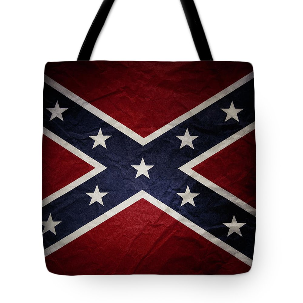 American Tote Bag featuring the photograph Confederate Flag 8 by Les Cunliffe