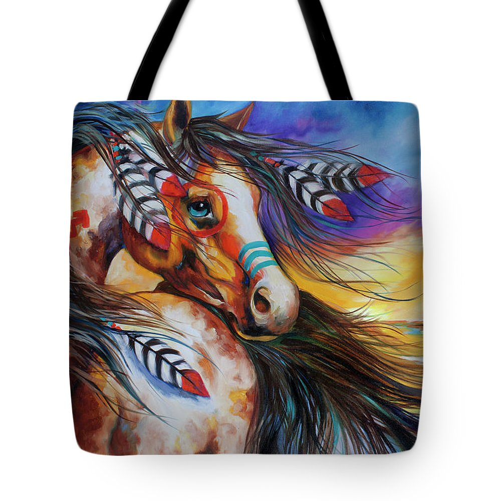 Indian Tote Bag featuring the painting 5 Feathers Indian War Horse by Marcia Baldwin