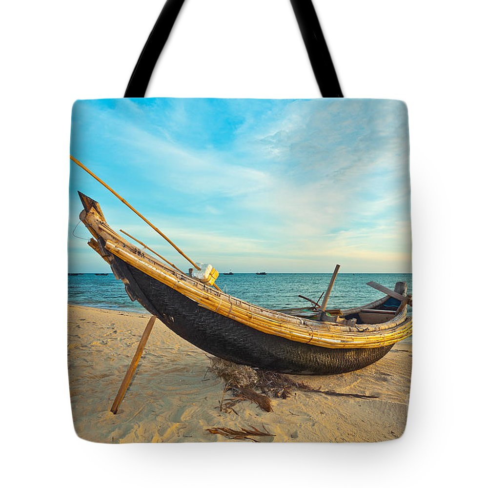 Boat Tote Bag featuring the photograph Fisherman Boat by MotHaiBaPhoto Prints