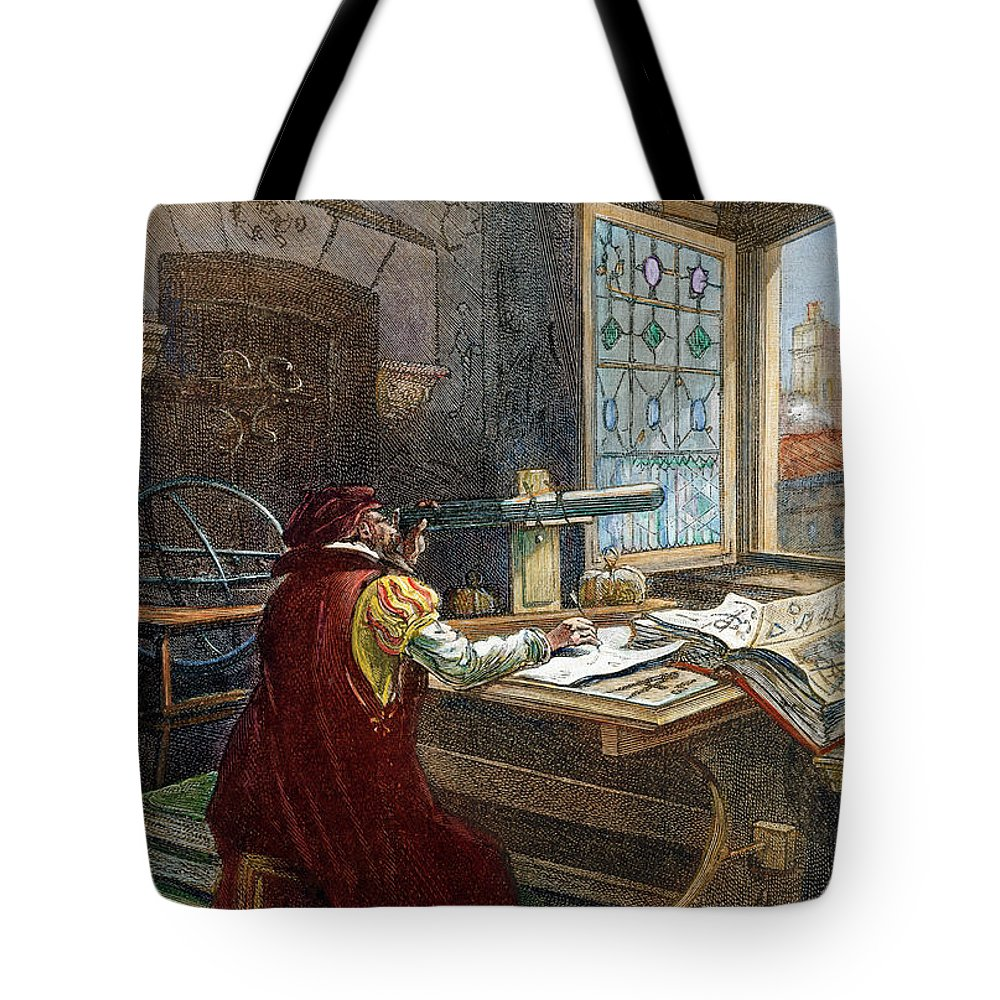 16th Century Tote Bag featuring the drawing Galileo Galilei, 1564-1642 by Granger