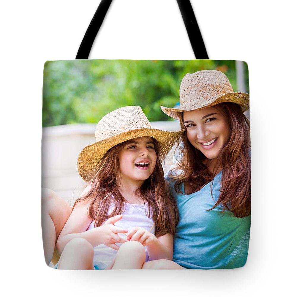 Baby Tote Bag featuring the photograph Happy Mother With Daughter by Anna Om