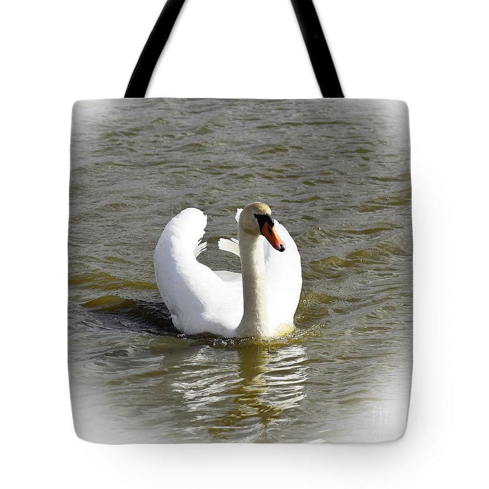 Wings Tote Bag featuring the photograph Mute Swan by Esko Lindell